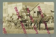 Lawton Oklahoma Rppc C1910 Delivery Wagon Grocery Groceries C.o.d. Grocery Store