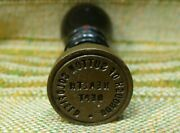 Antique Brass And Wood Sutton Coldfield Health Dept Sealing Wax Stamp Seal