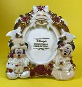 Disney Parks Mickey And Minnie Mouse Victorian Christmas Tree Photo Frame Ornament