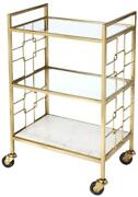 Bar Cart Modern Contemporary White Shiny Brass Polished Gold Distressed Pin