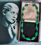 Antique Art Deco Chrysoprase Jade Green 9ct Gold Necklace 1930s Beautiful Gift