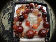 Antique Victorian Scottish Banded Agate Carnelian Beads Necklace 9ct Clasp Gift