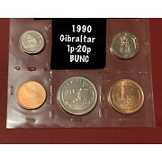 1990 Gibraltar 1p - 20p Pence Aa Die Mark Bu Coins From Set Inc Lady Of Europa
