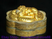 3.2 Antique Old Chinese Silver 24k Gilt Dynasty Palace Beast Flower Jewelry Box