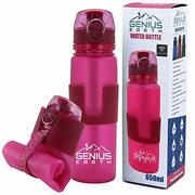 Genius Earth Foldable Water Bottle - Pink With Safe Lock Metal Clip