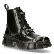 New Rock M-wall005n-c6 Boots Black Leather Wall Gothic Rock Biker Ankle Boots