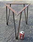 Antique Triangle Wrought Iron Art Us Mid Century Home Garden Table Base Stand Us