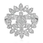 Real 1.70 Ct Baguette Diamond Floral Ring Solid 18k White Gold Handmade Jewelry