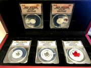 2015 Anacs - Rp70 Dcam Canadian Silver Maple Leaf 5 Coin Set First Strike W/box