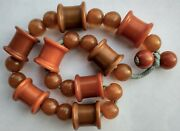 Rare/unusual Bakelite 8 Spool And 18 Round Beads - Baby Crib Toy Necklace