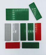Lego 9 Piece Vintage Brick Thick Plate 8x16 4x12 4x10 Green Red Gray 4202 4204
