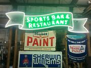 Vintage Neon Sign Sports Bar And Restaurant. Professionally Restored, 8' Long