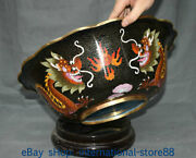 15.2 Old China Copper Cloisonne Dynasty Palace 2 Dragon Loong Flower Basin Tub