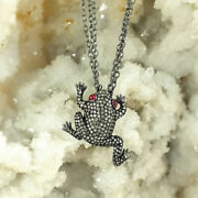 Natural Diamond Pave Frog Pendant 925 Sterling Silver Jewelry For Women
