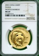 Panda Gold 1 Oz Ngc Ms 69 Frosted Bamboo 500 Yuan China Hard To Find