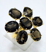 Designer 14 Cts Solid Gold And Smoky Topaz Gemstone Ring Cocktail Ring Fine Jewel