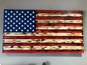 American Wooden Flag 36andtimes19.5 Burnt Natural Red Stripes Challenge Coin Display