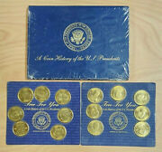 Rare A Coin History Of The Us Presidents Readers Digest, Book And 19 Coins, Brass
