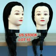 Lot 10 Of Brand New 18 Black Hair Cosmetology Female Mannequin Head With Clamp