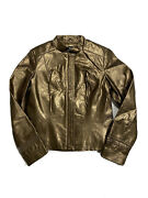 Revue Womenand039s Genuine Leather Jacket Antique Brass Brown Gold Sz S
