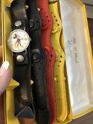 Vtg Authentic Mickey Mouse Walt Disney Productions Wide Leather Band Watch Set