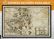 Colorado Fantasy Map - Usa Map Canvas Poster United States Wall Art Middle Earth