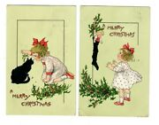 Vintage Christmas Postcards 2 Tuck And Sons Girl Child With Cat And Stocking