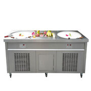 22 Double Round Pans With 10 Pcs Refrigerated Tank Fried Ice Cream Roll Machine