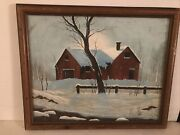 Vintage Winter Oil Painting On Canvas Framed S. R. Martin 18andrdquox22andrdquo