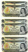 Bank Of Canada 1973 1 One Dollar 3 Lots Of 2 Consecutive Notes Unc
