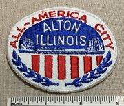 Vintage Alton Illinois All-american City Twill Embroidered Badge Patch Il