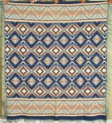 Dazzling Vintage Beacon Mills Camp Blanket Nice Blues And Native American Design