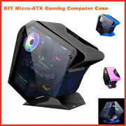 Gaming Computer Case Desktop Micro-atx Usb 3 Water Cooler Tempered Glass Pc Case