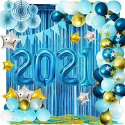 2021 Blue Balloons Arch Set For Graduation Decorations New Years Eve Party Andamp