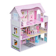 Large Children's Wooden Dollhouse Kid House Play Pink With Furniture Doll House