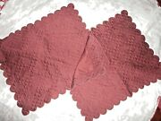 Home Treasures Maroon Matelasse Scalloped Quilted 2 Standard Pillow Shams