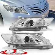 Chrome Clear Replacement Headlights Lamps Lh Rh Pair For 2007-2009 Toyota Camry