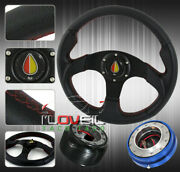 89-05 Eclipse Light Concave Steering Wheel Blk + Thin Quick Release + Hub Kit