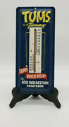 Vintage Metal Tums For The Tummy Advertising Thermometer Original Sign