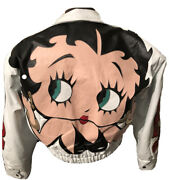 Womens Betty Boop Authentic White Leather Jacket