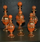 Egyptian Glass Set Of Six Perfume Bottles 24kt Gold Decorated Egyptian Glass