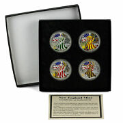 2000 American Silver Eagle Four Seasons Colorized 4 Coin Set With Case And Coa