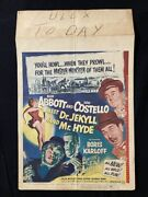 Abbott And Costello Meet Dr. Jekyll And Mr. Hyde Original Window Card Poster ...