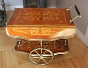 Antique Italian Marquetry Inlaid Drinks Trolley Or Bar Cart Serving Cart Hollywo