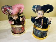 Porcelain Face Clown Dolls + Music Box, Collectible, Two