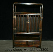 22.4 Old Chinese Huanghuali Wood Inlay Shell Dynasty 2 Drawer Cupboard Cabinet