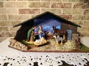 Vintage Handpainted 15-piece Christmas Nativity Set With Stable Chalkware