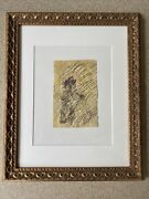 Purvis Young Colorful Figure On Horse With Halo Mixed Media Original Art