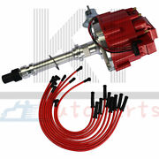 Red Distributor And Hei Spark Plug Wires Set For Chevy Bbc Sbc 350 400 383 454 V8