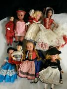 Vintage Small Doll Set Rare Old Collection European Clothes Lot 8 Dolls Antique